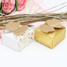 25pcs Butterfly And Flower Wedding Favors Box Candy White Golden Gift Chocolate For Party Supplies