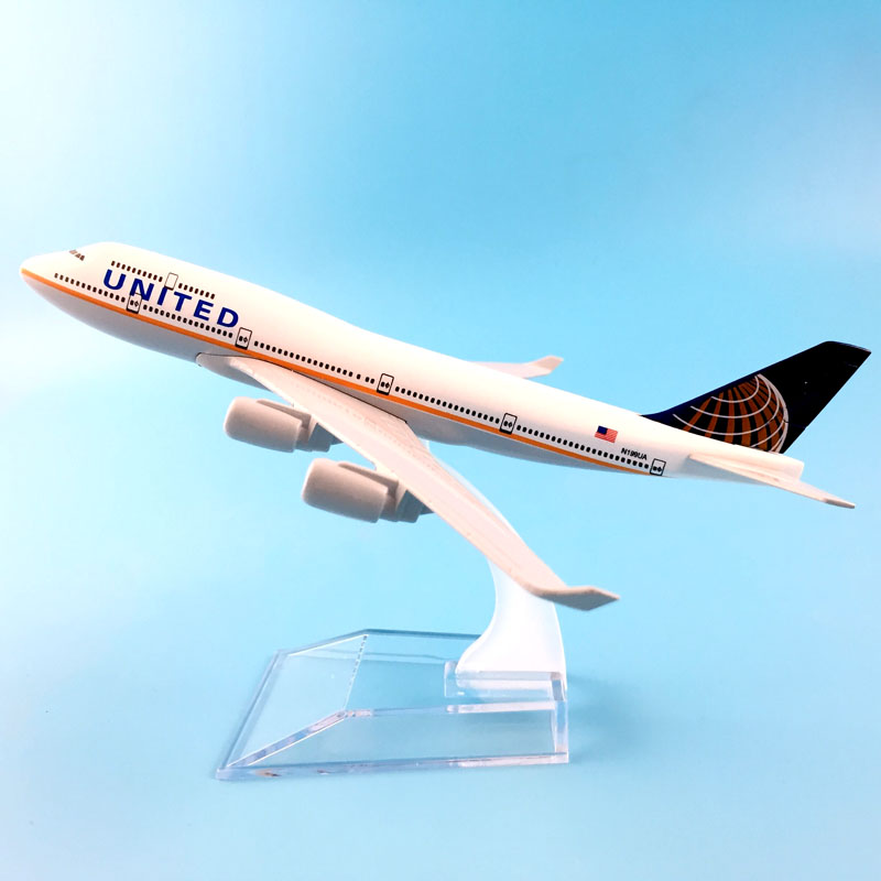 UNITED  AIRLINERS 16CM BOEING747 AIR UNITED  MODEL PLANE AIRCRAFT   TOYS FOR CHILDREN  AIRPLANE BIRTHDAY GIFT
