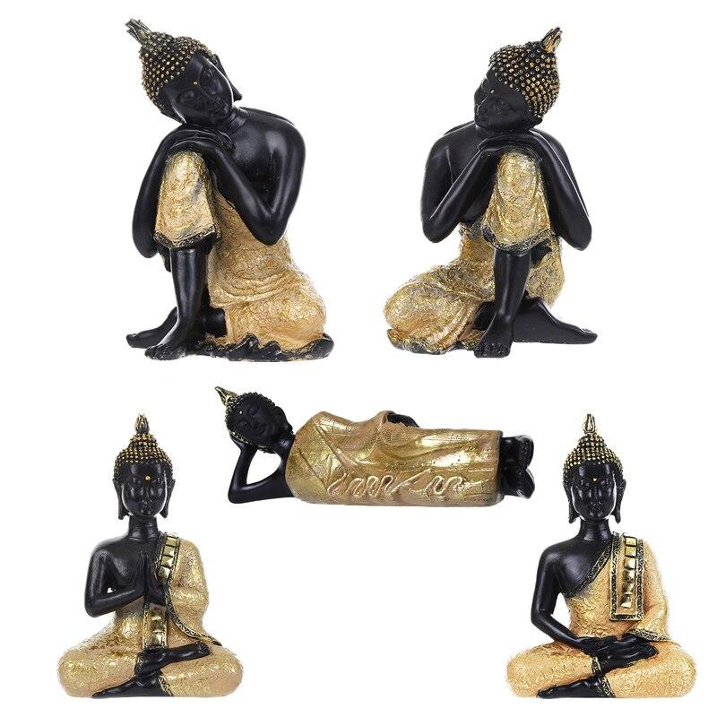 Thai Buddha Figurine Sculpture Sitting Buddha Statue Home Office Decor Indoor Statue Ornament 15cm Feng Shui Ornaments Crafts figurine