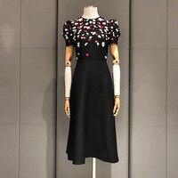 Новые power Star s с короткими рукавами Пузырьковые рукава с высокой талией платья с блестками ногтей бисером черный темперамент