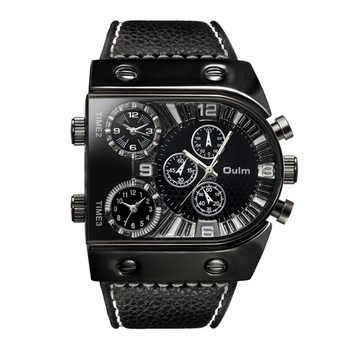 OULM Sport Watch Men Quartz Analog Clock 3 Time Zone Sub-dials Design Big case Oversize Fashion Black Wrist Watches relogio - DISCOUNT ITEM  30% OFF All Category