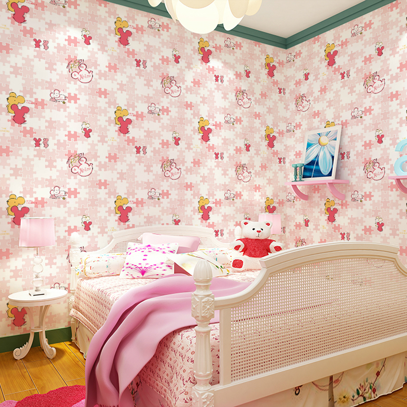 Kids room Wallpapers Nonwovens Boys Girls Warm Sleeping Cute Cartoon wall murals Mickey TV bedroom background Wallpapers
