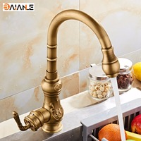 Free Shipping Brass Kitchen Faucet Single Handle Antique Finish Basin Sink Mixers Taps Kitchen Sink Faucet