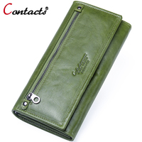 Contact S Wallet Female Genuine Leather Long Wallet Passport Cover Clutch Card Holder Coin Purse Phone