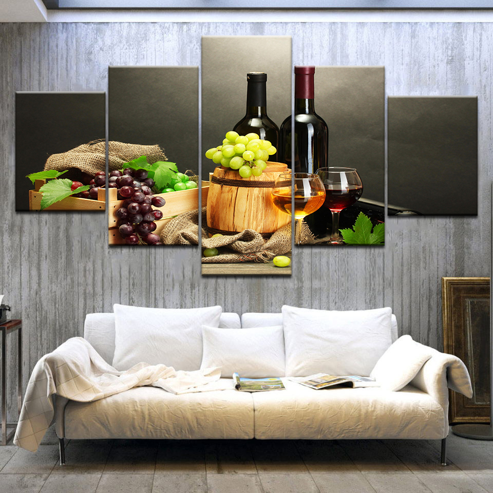 US $5.59 43% OFF|Canvas Pictures HD Prints Kitchen Decor 5 Pieces Grape  Wine Bottle Paintings Fruit And Cup Poster Restaurant Wall Art Framework-in  ...