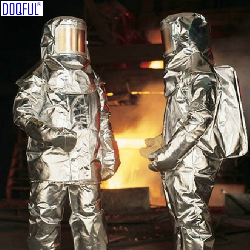New 1000 Degree Thermal Radiation Heat Resistant Firefighter Uniform Aluminized Aircraft Rescue Fire Fighting Approach Suit