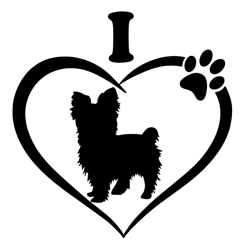 Three Ratels TZ-1551#15.5*15cm I Love Yorkshire Terrier Car Stickers Funny Auto Sticker Decals