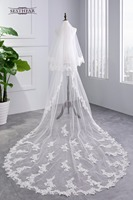 2018 White Ivory Cathedral Length Wedding Veils Two Layer Lace Bridal Accessories Veil with Comb