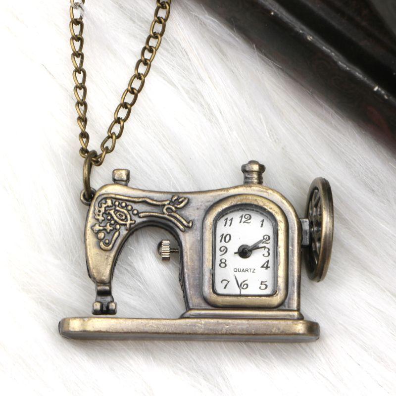 Sewing Machine Pocket Watch Quartz Vintage Necklace Charm Pendant Bronze Antique Decoration Jewelry Gifts Steampunk Chain