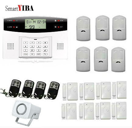 SmartYIBA Wireless GSM SMS Home Alarm Kits Door Gap Sensor PIR Motion Detector Horn Alarm System Smart Security Alarma 1set home security protection gsm sms wireless alarm system pir motion detector smoke alarm magnet door sensor wireless siren