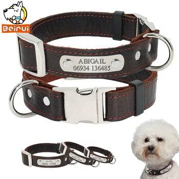 Gepersonaliseerde Aangepaste Hond Kraag Lederen Verstelbare Gegraveerd ID Halsbanden Voor Kleine Medium Grote Honden Pitbull