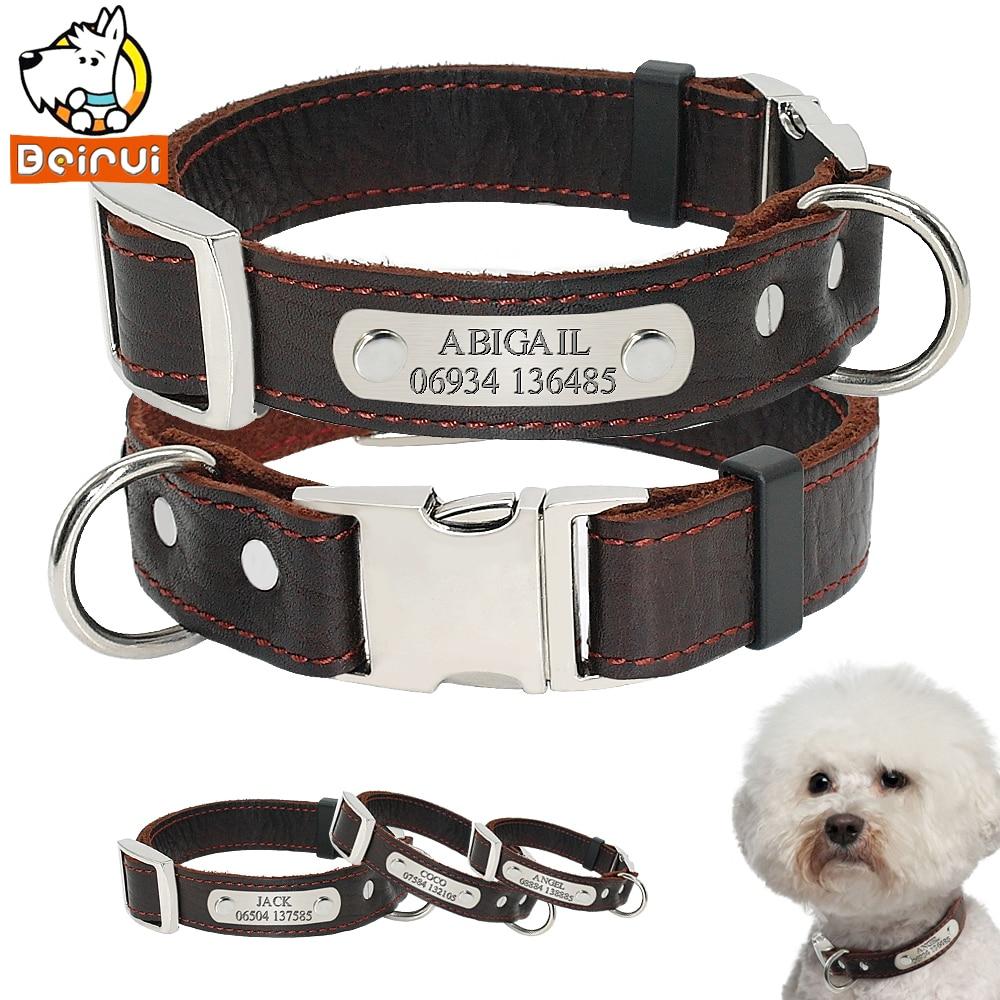 Personalisierte Angepasst Hund Kragen Echtes Leder Einstellbare Gravierte ID Hund Halsbänder Für Kleine Medium Large Pet Hunde Pitbull