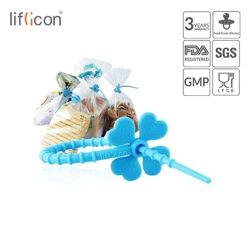 Liflicon Food Grade Silicone Bag Ties Colorful All-Purpose Cartoon Cable Strap Wire Bread Tie for Saver(8pcs)