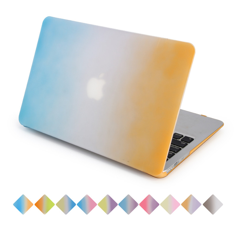 for macbook rainbow case air pro retina blue to orange gradient hard plastic good protect for apple mac 11.6 12.1 13.3 15.4 inch