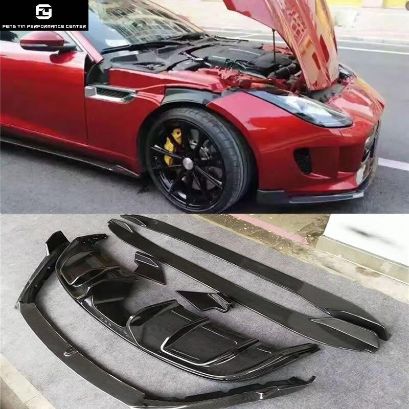 F-TYPE In Fibra di Carbonio paraurti posteriore diffusore minigonne laterali del paraurti anteriore labbro per Jaguar F-TYPE Auto Kit corpo vettura