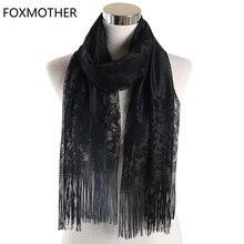 FOXMOTHER 黒、黄色、ピンク色の花レーススカーフタッセルフリンジショールラップ花ヘッドスカーフイスラム教徒 Hijabs スカーフ女性