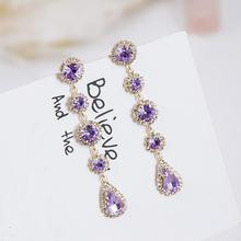 Женские длинные серьги подвески фиолетовые круглые капли стразы