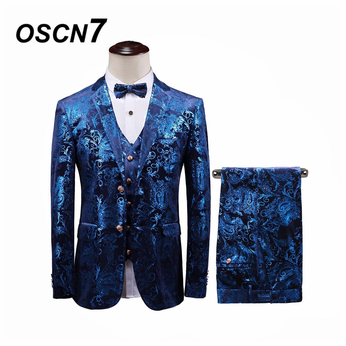 Cheap Sale Oscn7 Leisure Slim Fit Blue Print 3 Piece Suits Men 2019 Groom Wedding Suits For Men Fashion Party Three Piece Suit Men T373