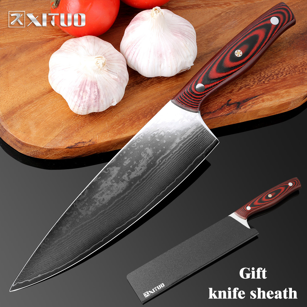 XITUO 8 Inch Full Tang Kitchen Knife Japanese VG10 Damascus Chef Knife Utility Cleaver Paring Filleting Knives Dining & Bar Tool