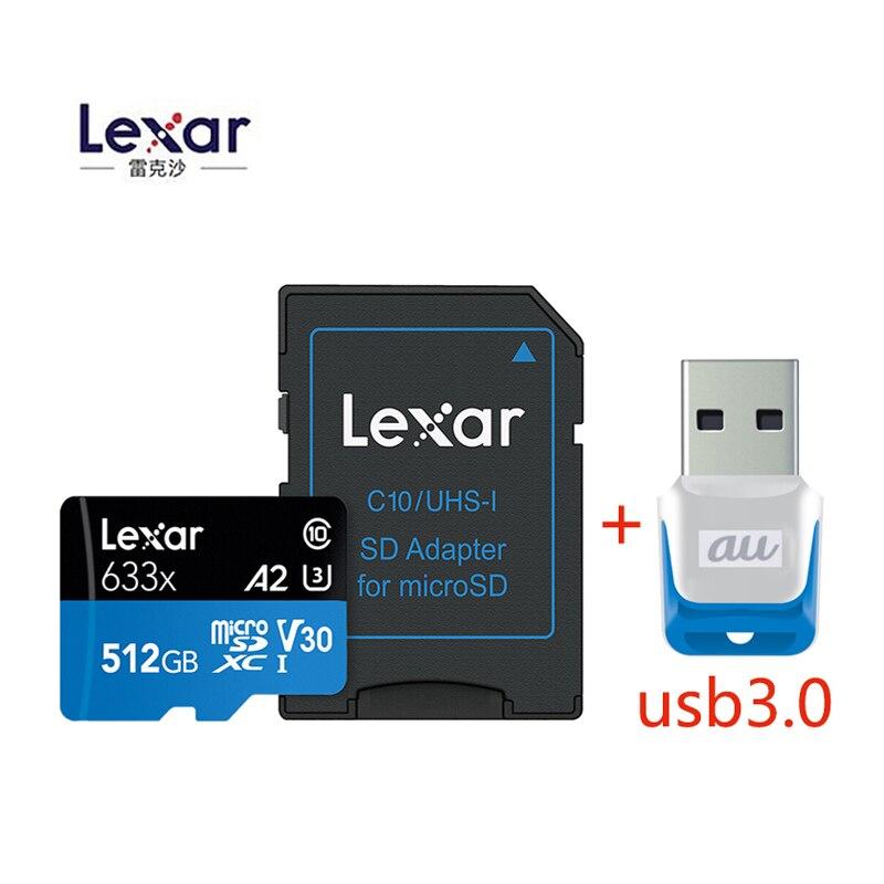 Hot Original 95 mb/s 633x Lexar cartão Micro sd Leitor de Cartão de Memória de 512 GB Uhs-1 Para Zangão Dji Gopro Esporte câmera SDXC cartão de Loja