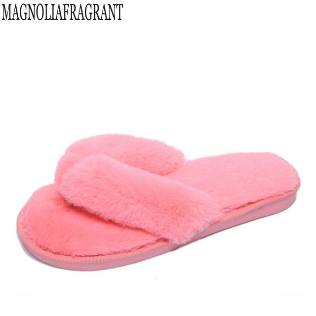 20850ebe3a67 2018 new Plus Size 36-41 Winter Fashion Women Home Slippers Faux Fur Warm  Shoes Woman Slip on Flats Female Fur Flip Flops c127