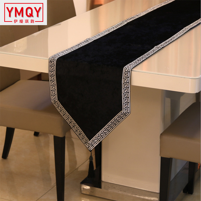 YMQY New Chinese High-end Tablecloth Flag Shoes Cabinet Cover Cloth European Velvet Bed Runner Simple Color Table Cloth