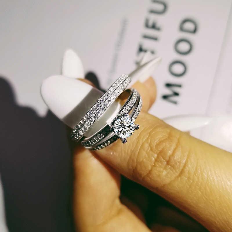 Moonso New Fashion Cushion Cut 925 Sterling Silver Wedding Ring