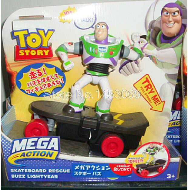 Anime Cartoon Toy Story 3 Buzz Lightyear Skateboard Rescue PVC Action Figures Collectible Toys Free Shipping DSFG181 original toy story 3 buzz lightyear robot light voice elastic wings 30cm action music anime figure kids toys for children p2