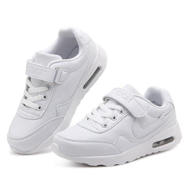 2017 almofada de ar entre os meninos brancos esportes shoes estudantes menina respirável sapato branco de couro adulto shoes tamanho 26-41