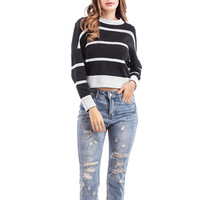 Womens Black And White Pullover Jumper Knit Striped Crop Top Sweater Drop Shoulder Sueter Mujer Female