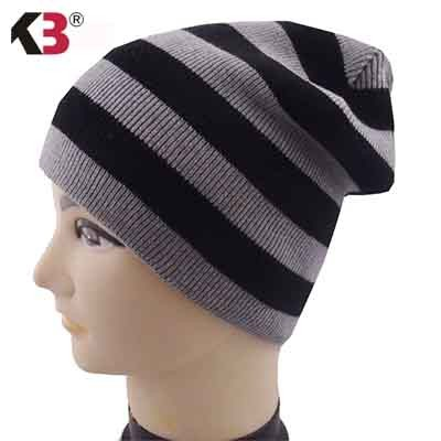 Distressed Stripe Slouch Beanie Skull Cap Trendy Warm Winter Slouchy Beanie Hat (1)