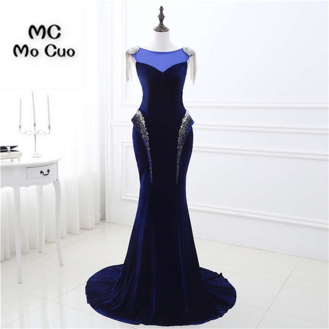 2018 Royer Blue Mermaid Prom dresses Long Velvet Beaded long graduation dresses vestidos de fiesta Women Evening Prom Dress