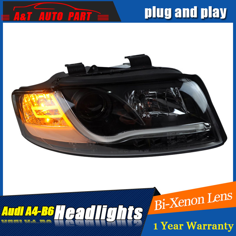 car Styling LED Head Lamp for AUDI A4 B6 headlights 01 04 for A4 B6 head light LED angle eyes drl H7 hid Bi Xenon Lens low beam