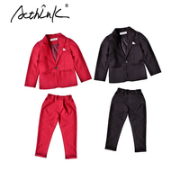 ActhInK New Arrival Kids Spring Wedding Suit for Boys Brand School Boys 2Pcs Formal Blazer Suit Children RED/BLACK Clothing Set