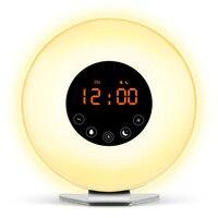 Sunrise Alarm Clock Digital LED Time Display Morning Wake Up Alarm Clocks FM Radio Snooze Night Light Desktop Beside Lamp