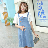 Maternity Women Denim Knee Length A-Line Summer Dress Pregnancy Belly Care Adjustable Strap Skirts with Pockets
