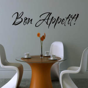 Kitchen Decals Wall-Stickers Room-Decor Quarto Bon Appetit Quote Vinyl Dinning Adesivo-De-Parede
