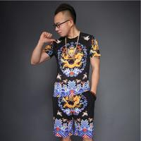 Chinese Qing Dynasty Emperor Dragon Garment Suits Men Summer Printed Short Sleeve T shirt + Trousers Yellow Black Short Pants