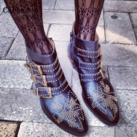 Spring Autumn New Style Women Pointed Toe Ankle Boots Side Zippered Rivets Decoration Ladies Square Heel