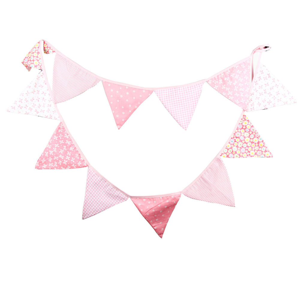 12 Flags 3.2m Bunting Pennant Flag Banner Garland Pink Cotton Fabric Wedding/Birthday/Baby Show Party Decoration String of Flag