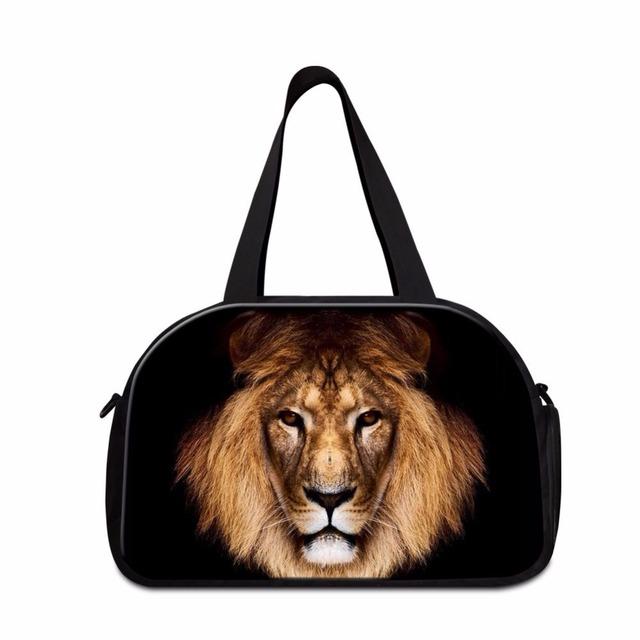 Dispalang homens bagagem sacos de viagem de grande capacidade de impressão leão animais tote bagagem bolsa de viagem ocasional mochila pouco sapato independente