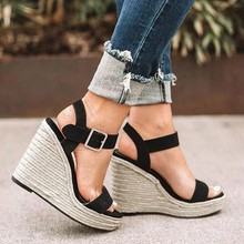 New Wedges Shoes For Women Retro Open Toe Ankle Platform Beach Black Sandals Plus Size Weave High Heels Buckle-Strap Roman Shoe karinluna popular women sandals ankle strap buckle small bowtie crystal bordered wedges open toe platform party shoes for women
