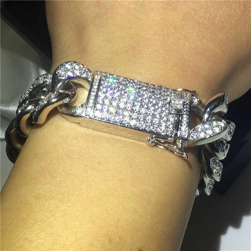 Choucong duża bransoletka Hiphop białe złoto wypełnione Micro Pave AAAAA cyrkon Party rocznica bransoletki dla mężczyzn moda Rock Jewerly