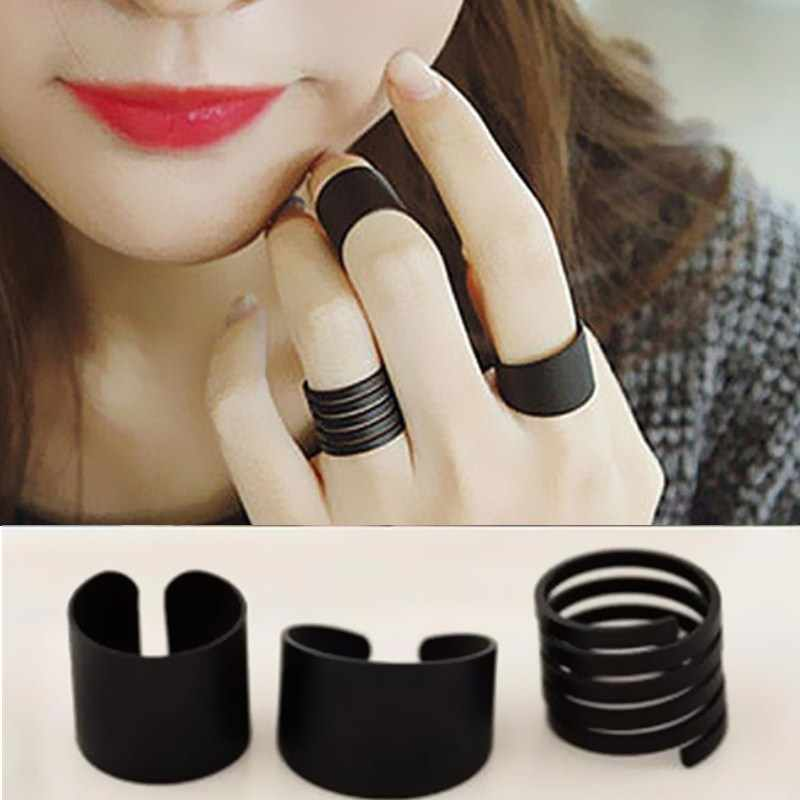3pcs/lot New Fashion Matte Black Opening Ring Jewelry Adjustable Women Knuckle Finger Rings Anel Anillos Bjoux Hot Sale G224