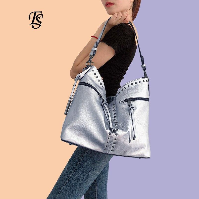 Hobo Rivet grande capacité fourre-tout sacs pour femmes 2018 haute qualité PU cuir sacs à bandoulière dames sacs à main Designer sac à provisions