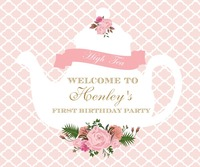custom tea party baby shower gender neutral flower leaves backdrops High quality Computer print wall background