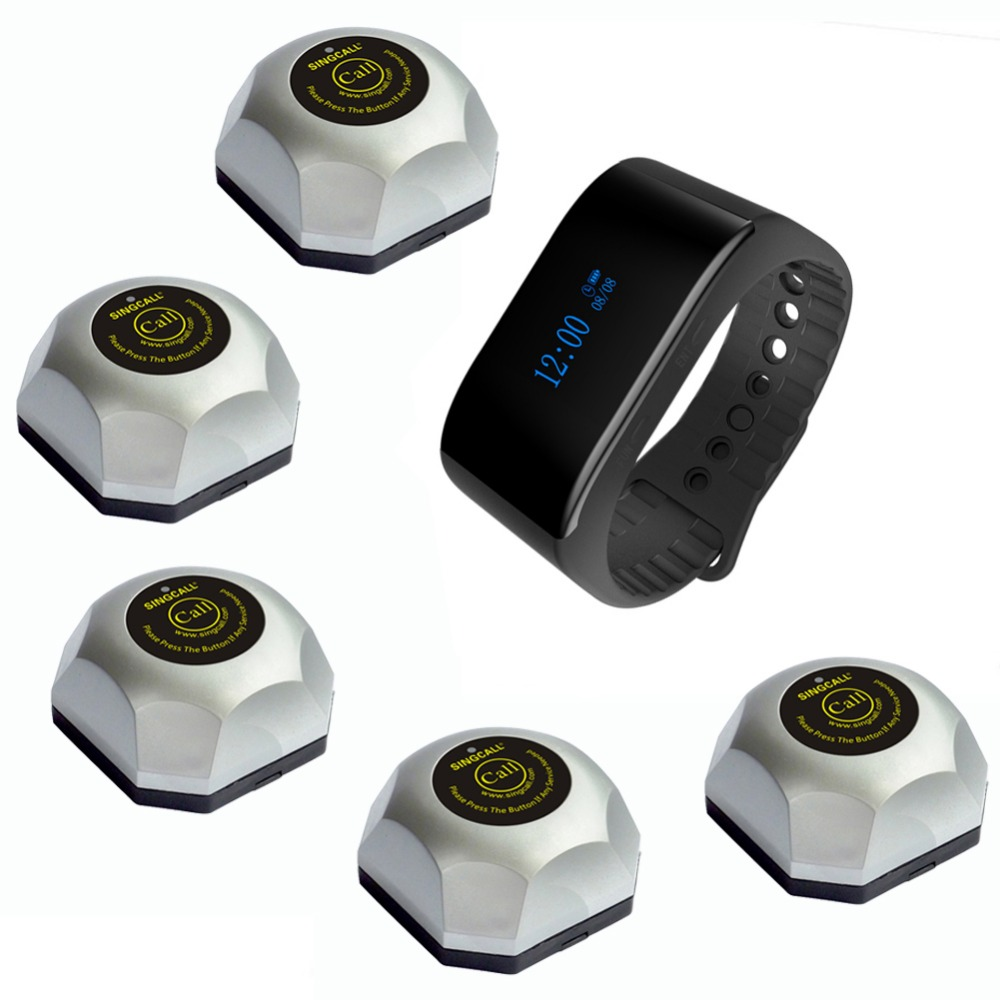 SINGCALL restaurant wireless table bell system food restaurant call 1 waterproof watch and 5 calling pagers ...