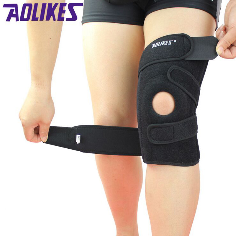 AOLIKES 4Spring Support EVA Breathable Sports Knee Pads Brace Support Protect Knee Protector Kneepad wraps ginocchiere rodillera aolikes knee support knee pads brace kneepad gym weight lifting knee wraps bandage straps guard compression knee sleeve brace