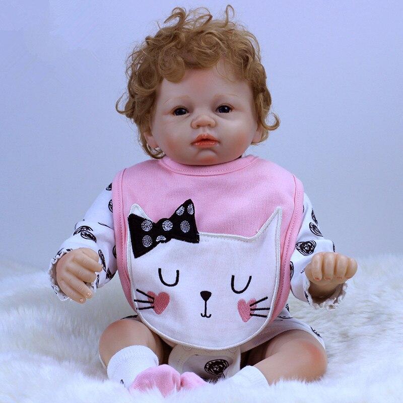 2018 Nueva Llegada 22 pulgadas 55 cm de Silicona bebé Reborn Muñeca - Muñecas y accesorios - foto 3