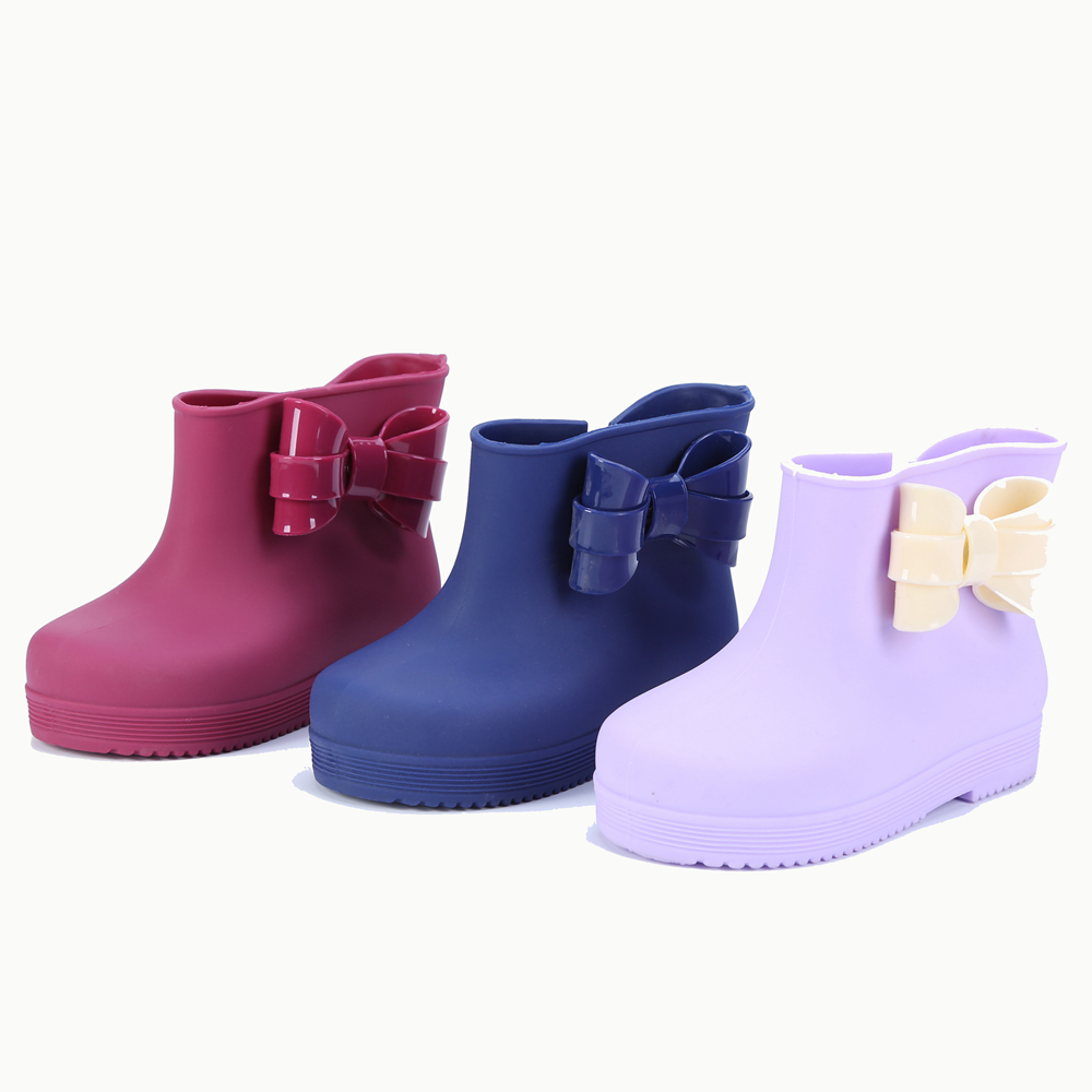 Mini Memon Plastic Bow with Childrens Fashion PVC SOFT LEATHER Rain Boot sbaby todder Non Slip Water shoes Sapato